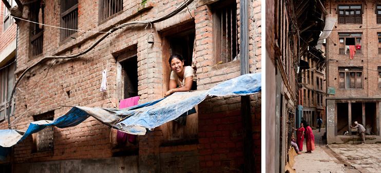 Alley, Bhaktapur, Brick, Nepal, Second Floor, Window, Woman