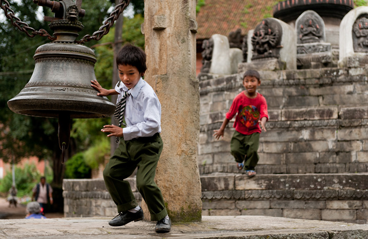 Bell, Bhaktapur, Children Playing, Hanuman Ghat, Nepal