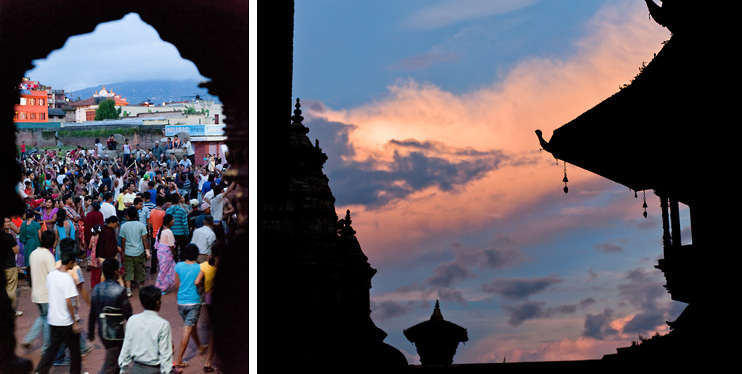 Archway, Bhaktapur, Crowd, Durbar Square, Gai Jatra, Nepal, Sunset