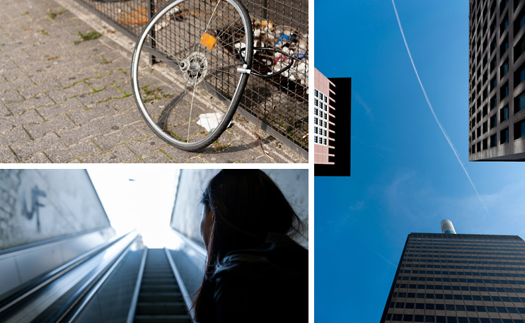 Bike Wheel, Building, Escalator, Frankfurt, Germany, Japan Center, Sejin, Sky, Taunusturm