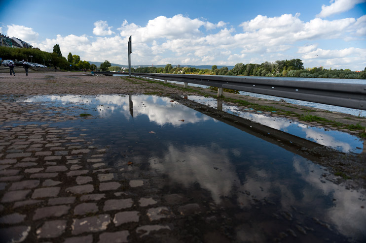 Germany, Mainz, Puddle, Rhine River