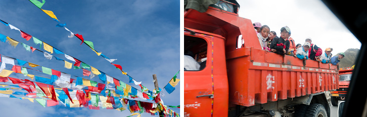 Friendship Highway, Prayer Flags, Children, School Bus