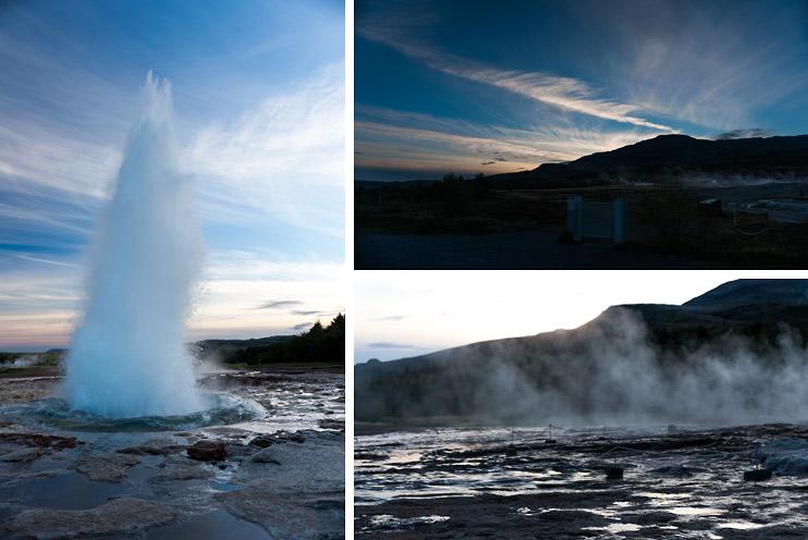 Geysir, Iceland, Sunset