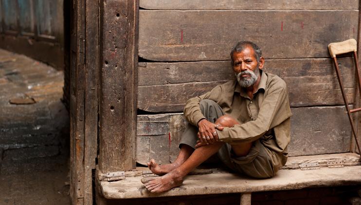 Beggar, Crutch, Kathmandu, Nepal
