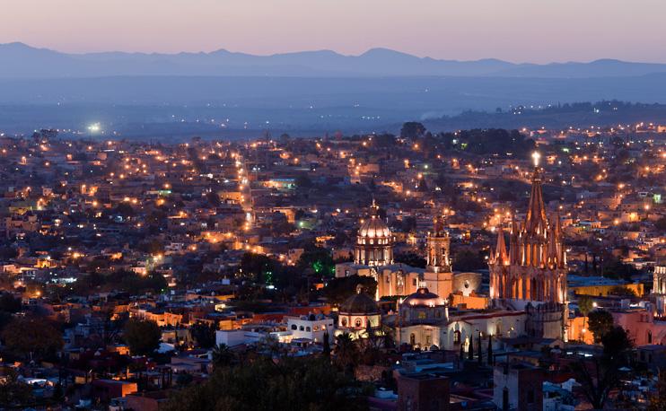 Mexico, Parroquia de San Miguel, San Miguel de Allende, Skyline, Sunset