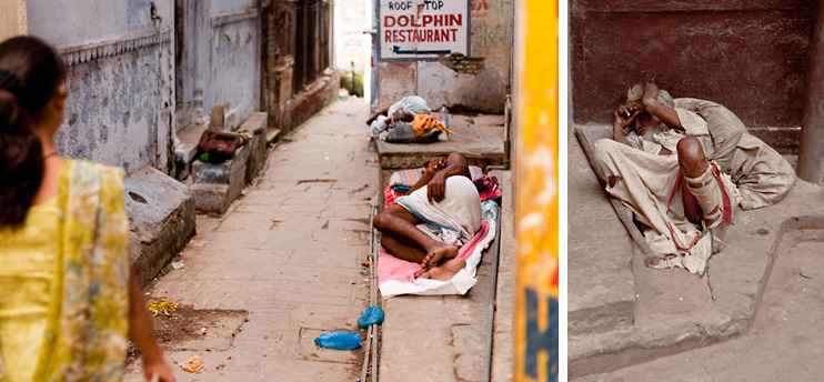Alley, India, Sleeping, Varanasi