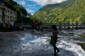 Clouds, Girl, Mountain, Nepal-Tibet Border, Rail, Reflection, Tibet, Walking, Zhangmu