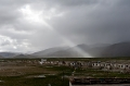 Beam, Buildings, Clouds, Hills, Light, Mountains, Tibet, Tingri